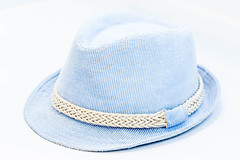 Blue hat on white background
