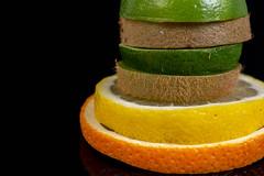 Stack of sliced Orange Lemon Lime and Kiwi