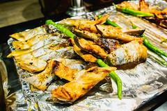 Newly grilled fish on foil