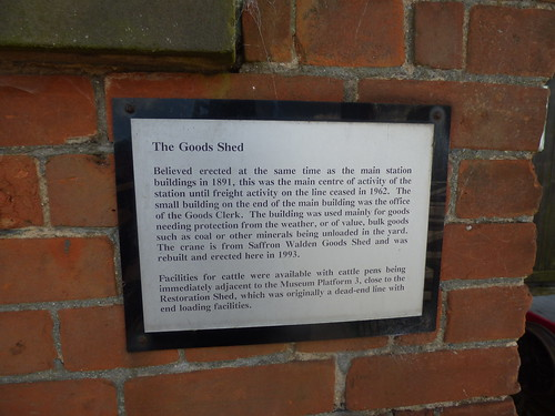 East Anglian Railway Museum - The Goods Shed - plaque
