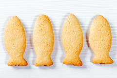 Cookies in the form of fish. Top view