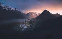 Sunset and the Key Monastery