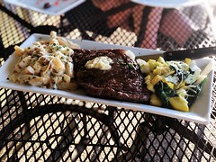 Ribeye with potatoes and summer squash
