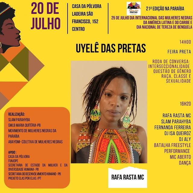 Uylê das Pretas terá Rafa Rasta MC - Feminismo negro neste, sábado! - Créditos: Card de divulgação