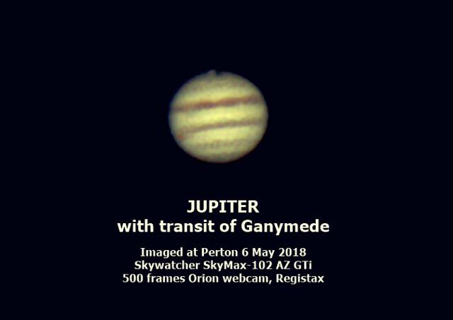 Jupiter and Ganymede transit 4inch scope