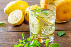 Lemon cocktail with juice, mint and ice