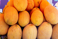 Yellow ripe melons on the market