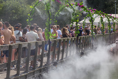 Festival visitors cool under flower gates with splashing water on Tomorrowland
