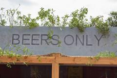Großer Schild zeigt wo man Bier kaufen kann auf dem Tomorrowland Festival in Belgien