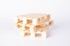 Wooden pallets on white background
