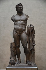 Colossal basalt statue of Hercules found at Rome on the Palatine Hill, it stood three and a half metres tall in Domitian's throne-room in the Domus Augustana, now on display in the Museum of Archaeology in Parma