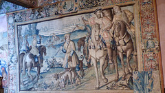 Bourdeilles - Chateau de Bourdeilles, renaissance palace chamber tapestry Francois I