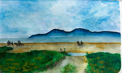 Painting of Arran from Scalpsie Bay