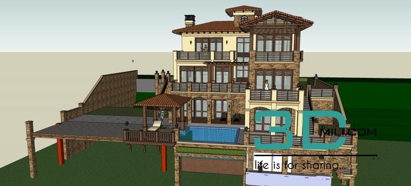 17 Modern house Sketchup File Free Download - 3D Mili - Free