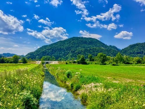 Meadow and brook between Kiefersfelden and Oberaudorf, Bavaria, Germany