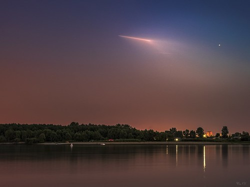 Spaceship (Soyuz MS-13) launch from Baikonur Cosmodrome to ISS Zarya. View from Omsk / Запуск космического корабля Союз МС-13 с Байконура к МКС - вид из Омска