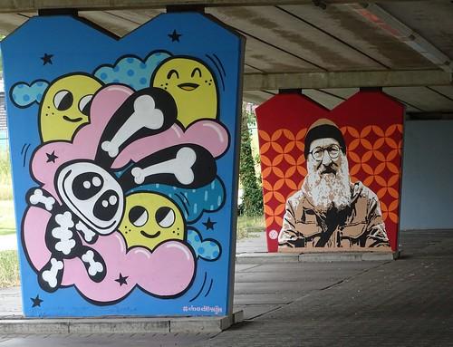 Het Zuilenkabinet Boshoverbrug Weert graffiti, artist Dood Konijn (NL) and Angst (NL)