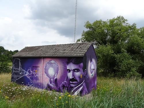 Graffiti Gart Smits and James Jetlag, Weert, hommage Nikola Tesla