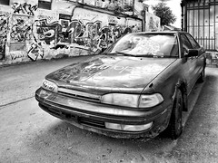 dead iron with graffiti