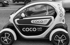 A RENAULT TWIZY USED AS AN ADVERTISING PLATFORM [FOR THE COCO CAFE IN SALTHILL]-154328