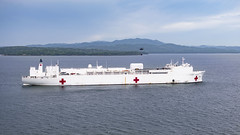 A U.S. Army UH-60L Blackhawk helicopter transfers supplies from the hospital ship USNS Comfort (T-AH 20) to temporary medical sites.