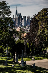 Lower Manhattan seen from the Greenwood Heights Cemetery