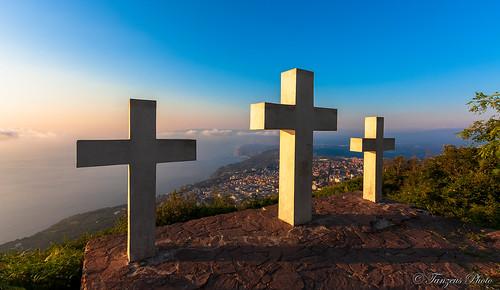 A View of Le Tre Croci di Monte Sant'Elia at Sunset, Palmi, Reggio Calabria, Calabria, Italia