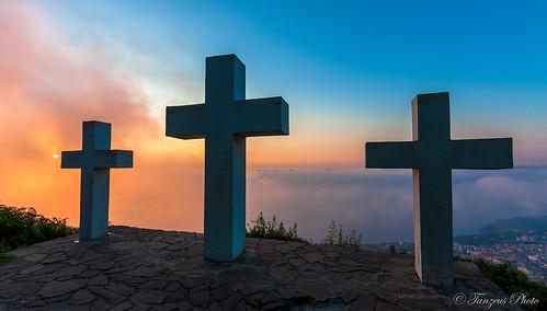 Le Tre Croci di Monte Sant'Elia at Sunset, Palmi, Reggio Calabria, Calabria, Italia