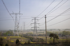 agriculture and power lines, Shanxi, China