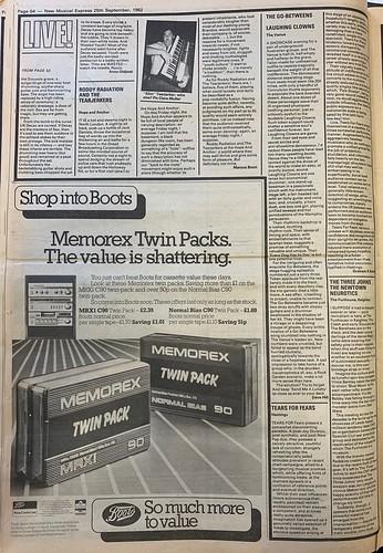 NME, 25 September 1982. #NME  #MyLifeInTheUKMusicPress #1982