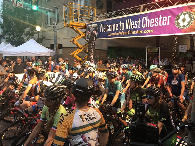 Professional women cyclists from around the country prepare to line up for the 2018 Pro Women's Criterium.