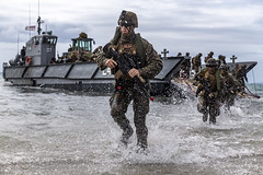 Marines conduct a simulated amphibious assault of exercise during Talisman Sabre 19.