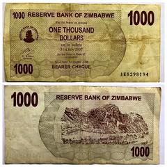 $1000 bearer cheque Zimbabwe