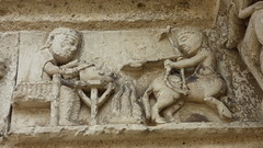 Aubterre - church of St Jacques, facade, frieze - Photo of Saint-Avit