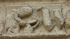 Aubterre - church of St Jacques, facade, frieze (4) - Photo of Saint-Avit