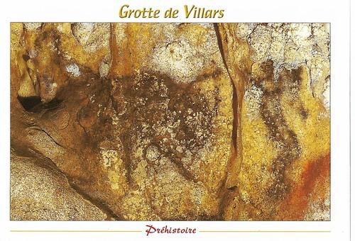 grotte de villars cave painting - man with bison