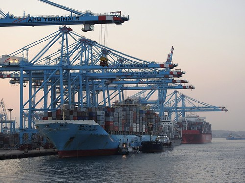 APM Maersk Terminal - Algeciras Port - Spain & Maersk Detroit - Container Ship - Flag: U.S.A.