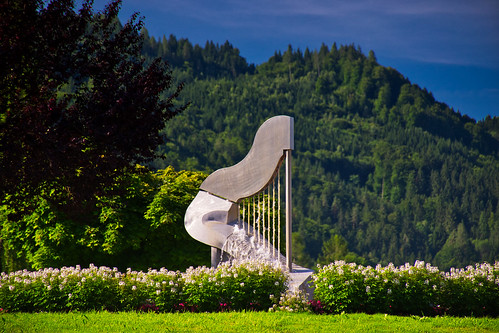 The harp fountain in Ossiach, Carinthia, Austria