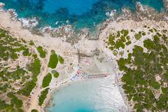 Aerial view of Punta Molentis Beach in Sardinia, Italy