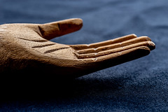 Image by Mi Bob (springlake) and image name Wooden Hand photo  about Wooden Hand from a carved Santo figure. MacroMonday - Made of Wood HMM