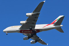 Emirates A380 on final at Dulles