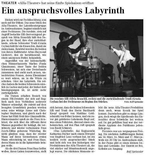 2001 - Das Labyrinth (Siegfried Lenz)