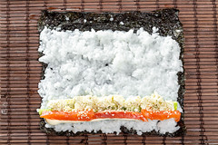 Salmon, avocado, rice on seaweed and cucumber on brown background