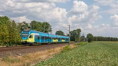 Image by Rob Dammers (robdammers) and image name Salzbergen Eurobahn ET9.03 RB61 Bad Bentheim photo  about Het was zondag 28 juli een puinhoop op de RB61 tussen Bielefeld en Hengelo. Er waren geen Flirt3 stellen beschikbaar, waardoor er heel onregelmatig werd gereden. Veel ritten werden vervangen door busvervoer. Bij Salzbergen zien we één van de sporadische treinen van de Eurobahn, een FLIRT (Flinker Le
