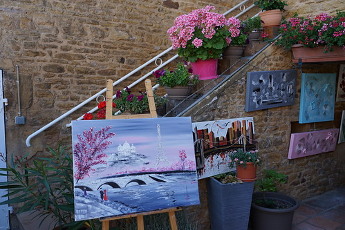 Paintings among flowers