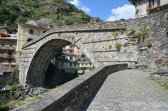 Pont-Saint-Martin, a Roman segmental arch bridge in the Aosta Valley in Italy dating to the 1st century BC