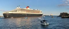 Cunard QE and QM2 depart Halifax