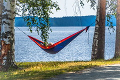 Hammock on the shore of a lake