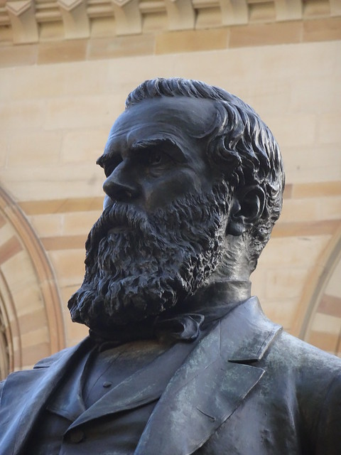 Photo:Adelaide. The  statue of Sir Walter Watson Hughes in front of the  Mitchell building  the University of Adelaide. Hughes donated 20,000 pounds from his Moonta copper mine wealth to found the university in 1874.Statue unveiled 1906. By denisbin
