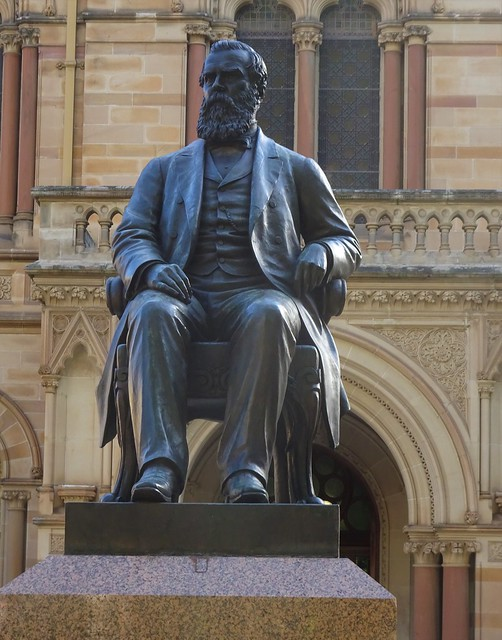 Photo:Adelaide. Statue of Sir Walter Watson Hughes Moonta mining magnate. Donated 20,000 pounds to found the University of Adelaide in 1874 as did Sir Thomas Elder. Statue 1906. By denisbin